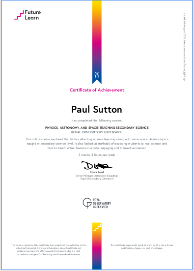 Certificate physics and space course