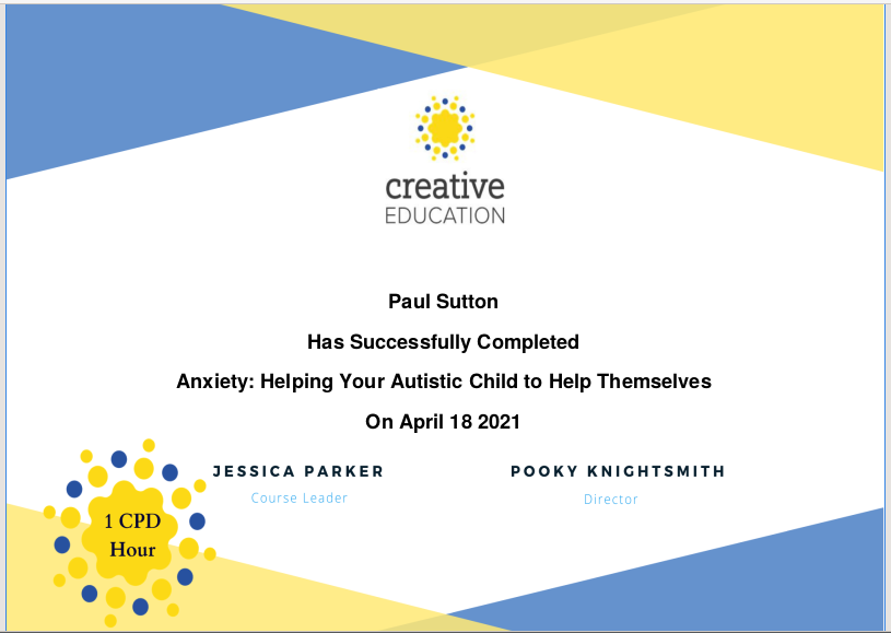 Anxiety and autism Certificate